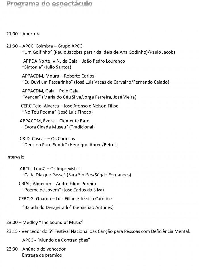 Programa do espectáculo